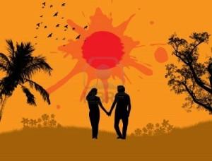 14230058-amantes-en-un-paisaje-tropical-con-palmeras-pajaros-y-el-sol